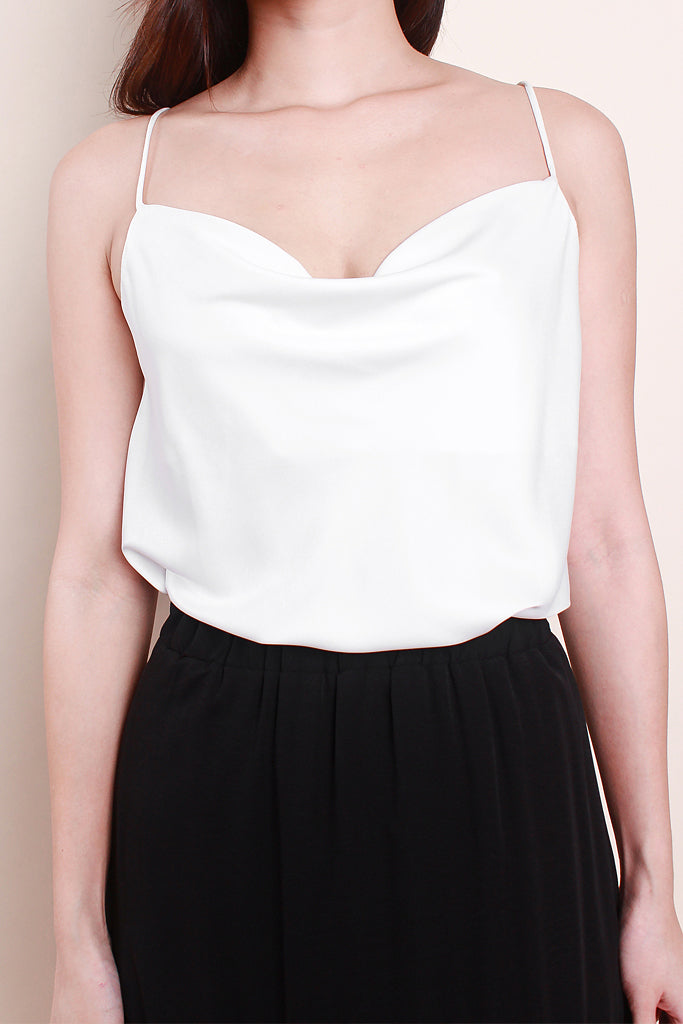 Sienna Luxe Cowl-Neck Top - White