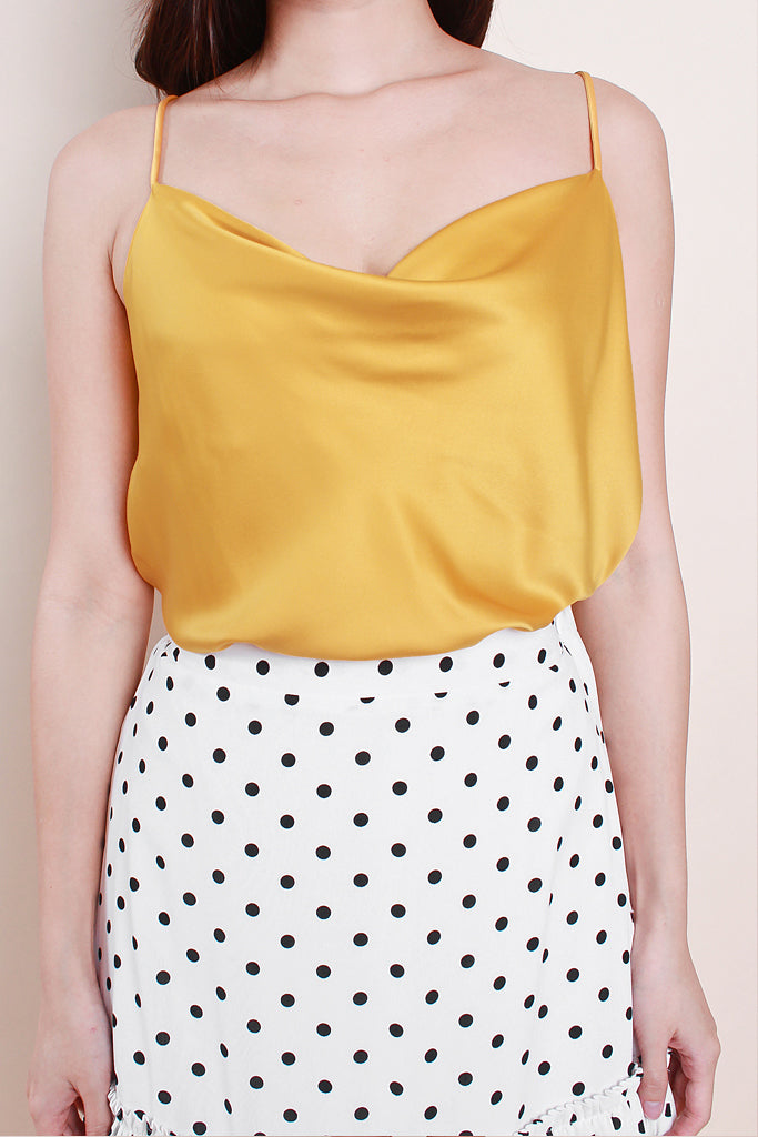 Sienna Luxe Cowl-Neck Top - Yellow