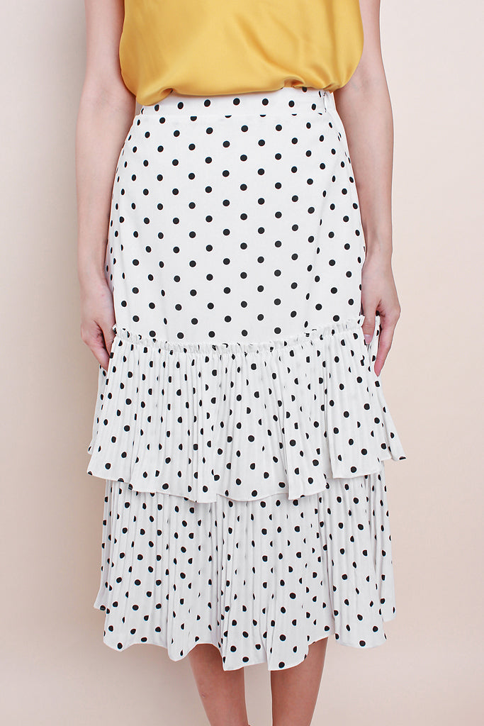 Rosalie Pleated Hem Tier Skirt - Polka Dot [S/M/L/XL]