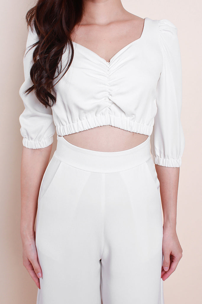 Journee Cutout Puffy Sleeved Jumpsuit - White [S/M/L]
