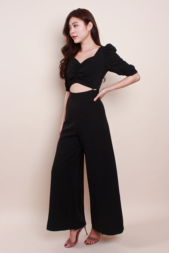 Journee Cutout Puffy Sleeved Jumpsuit - Black [S/M/L]
