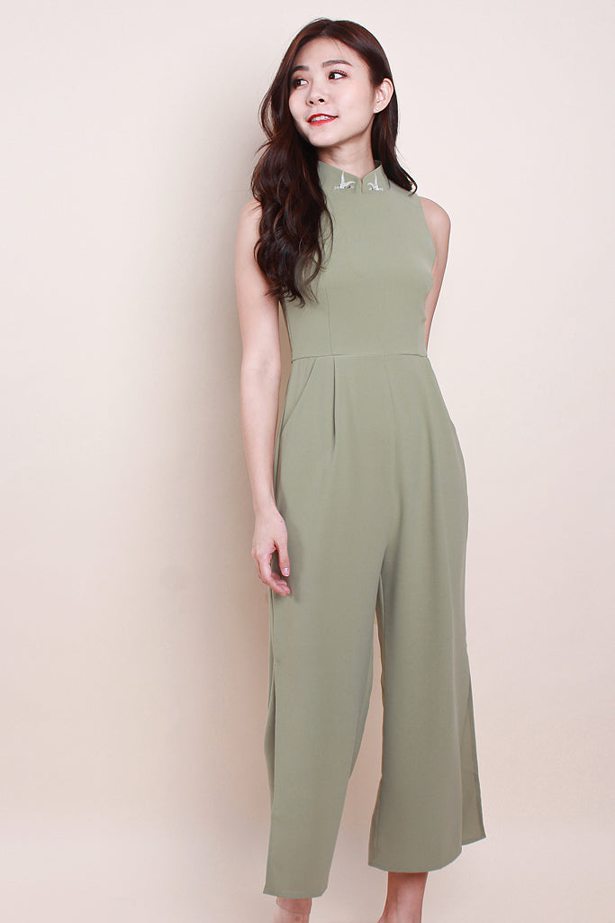 Briella Detachable Mandarin Collar Jumpsuit - Avo Green [S/M/L/XL]
