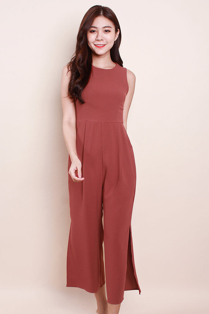 Briella Detachable Mandarin Collar Jumpsuit - Tea Rose [S/M/L/XL]