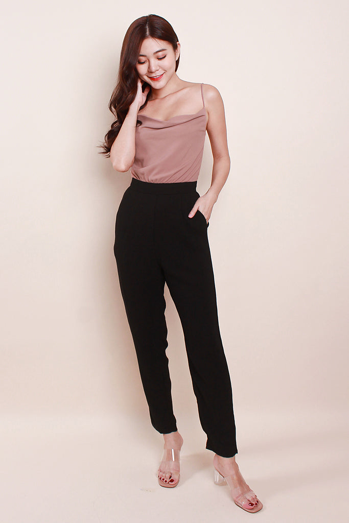 Willa Colourblock Cowl Neck Jumpsuit - Nude Pink [S/M/L]