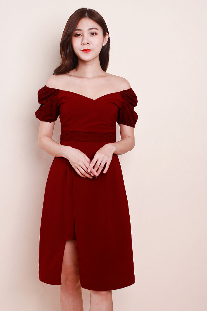 Zuri Eyelet Sleeved Dress - Wine [S/M/L/XL]