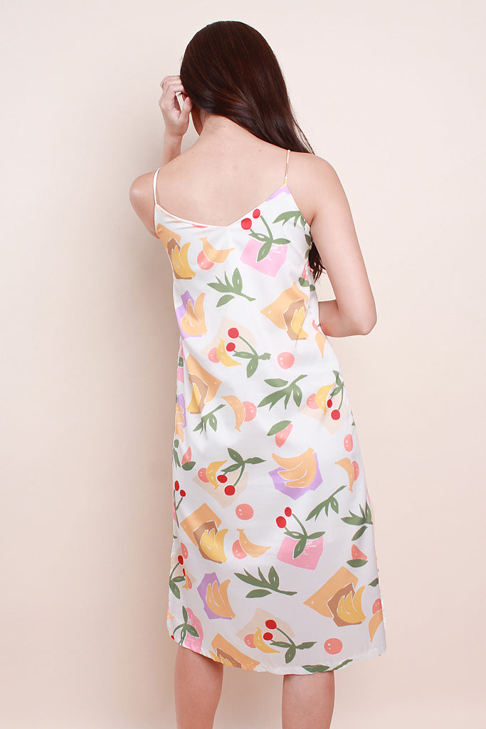 Paige Women 2way Fruity Slip Dress - White [XS/S/M/L/XL]
