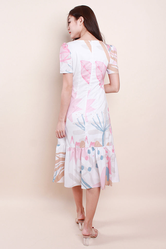 Evie Button Abstract Dress - Pink [XS/S/M/L]
