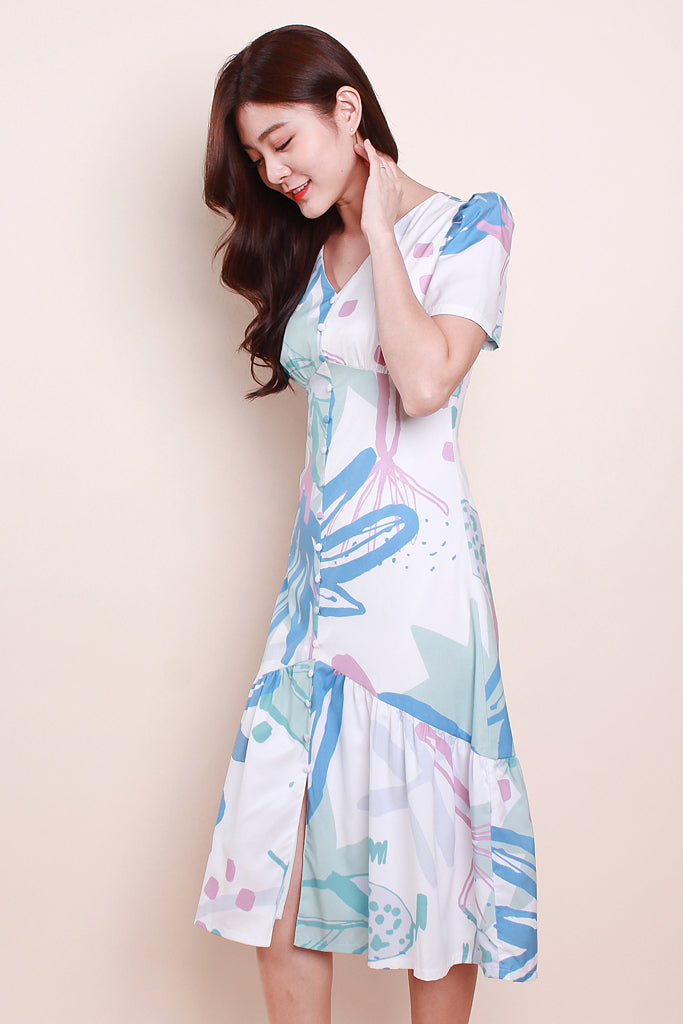 Evie Button Abstract Dress - Blue [XS/S/M/L]
