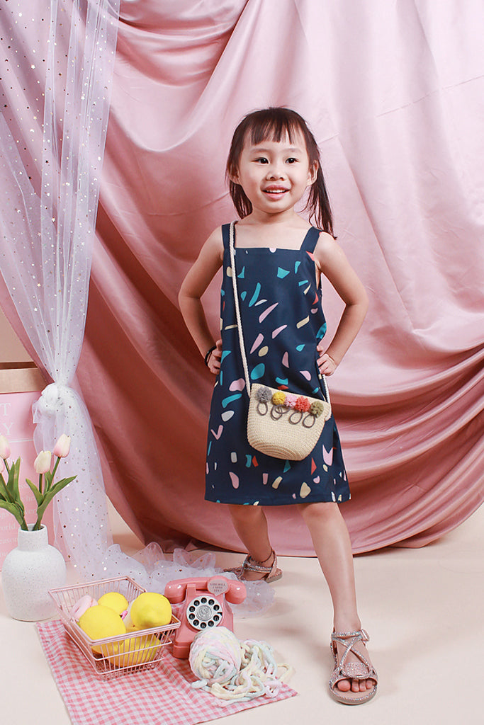 Sally Kids Confetti 2Way Button Dress - Navy [18M/2Y/3Y/4Y/5Y]