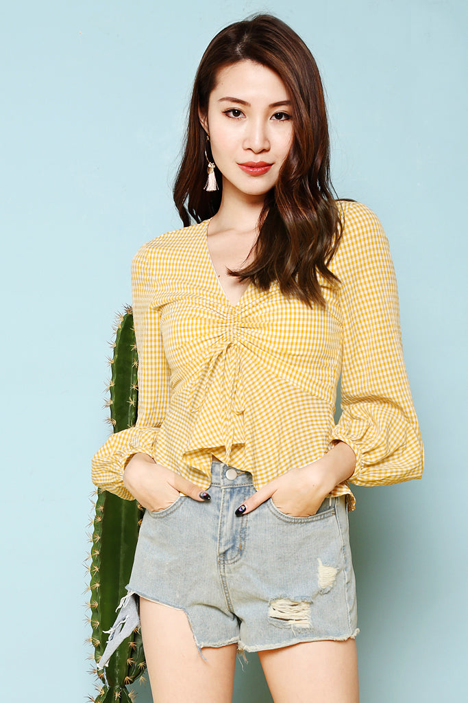 22a798957514a Back Order: Melina Gingham Ruche Top - Yellow [S/M/L] – Diamond Mojitto