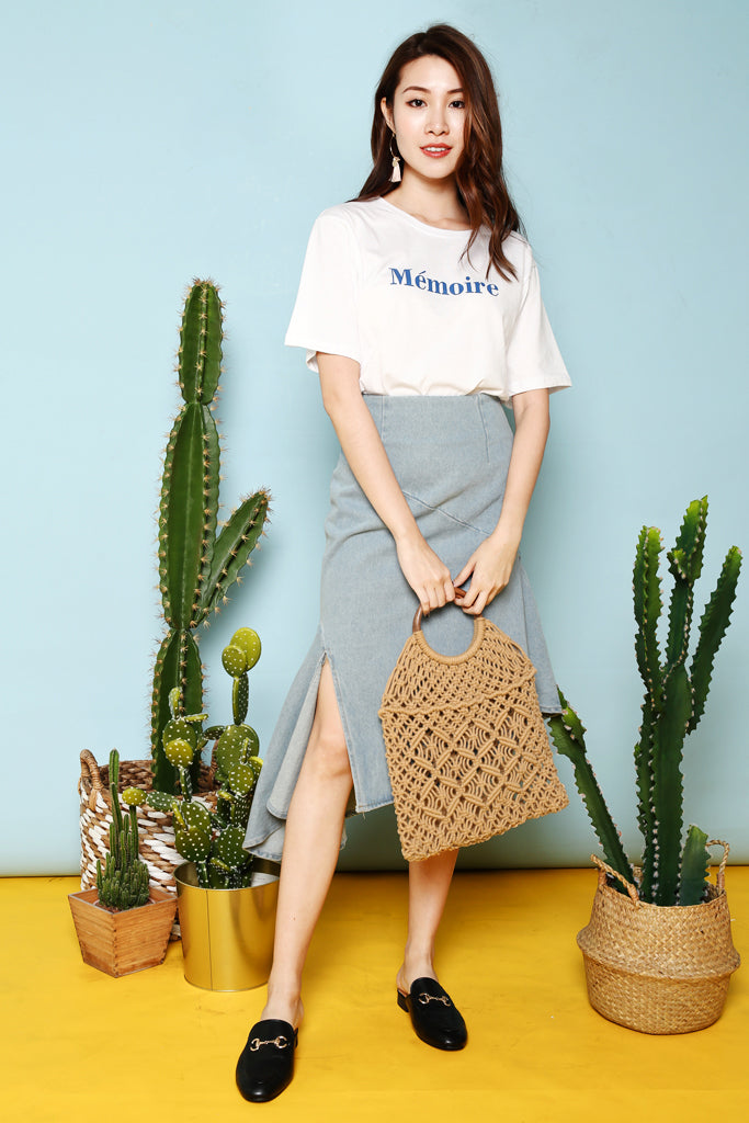 Audrey Asymmetrical Denim Skirt - [S / M / L]