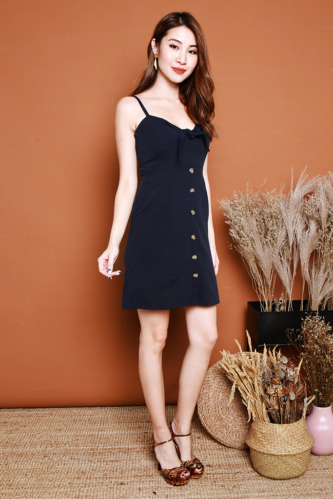 Amelia Knotted Spag Dress - Navy [S/M/L]