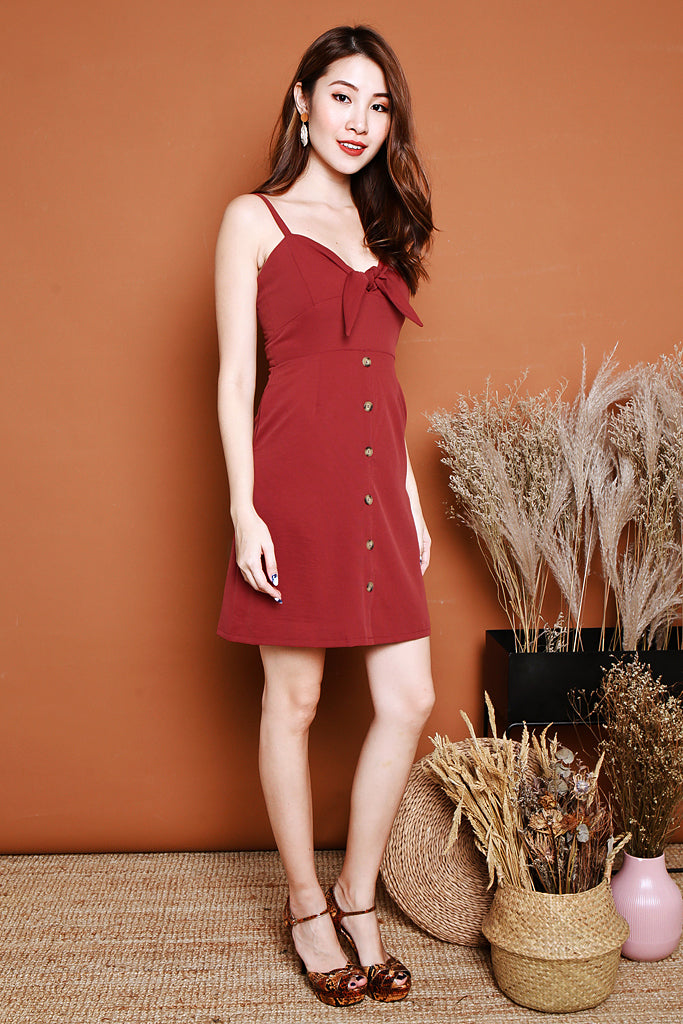 Amelia Knotted Spag Dress - Wine [S/M/L]