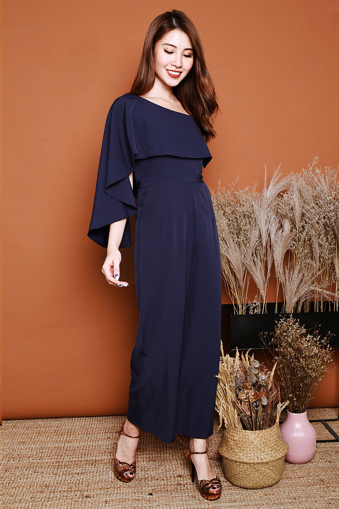 Charlotte Off-shoulder Cape Jumpsuit  - Navy [S/M/L]