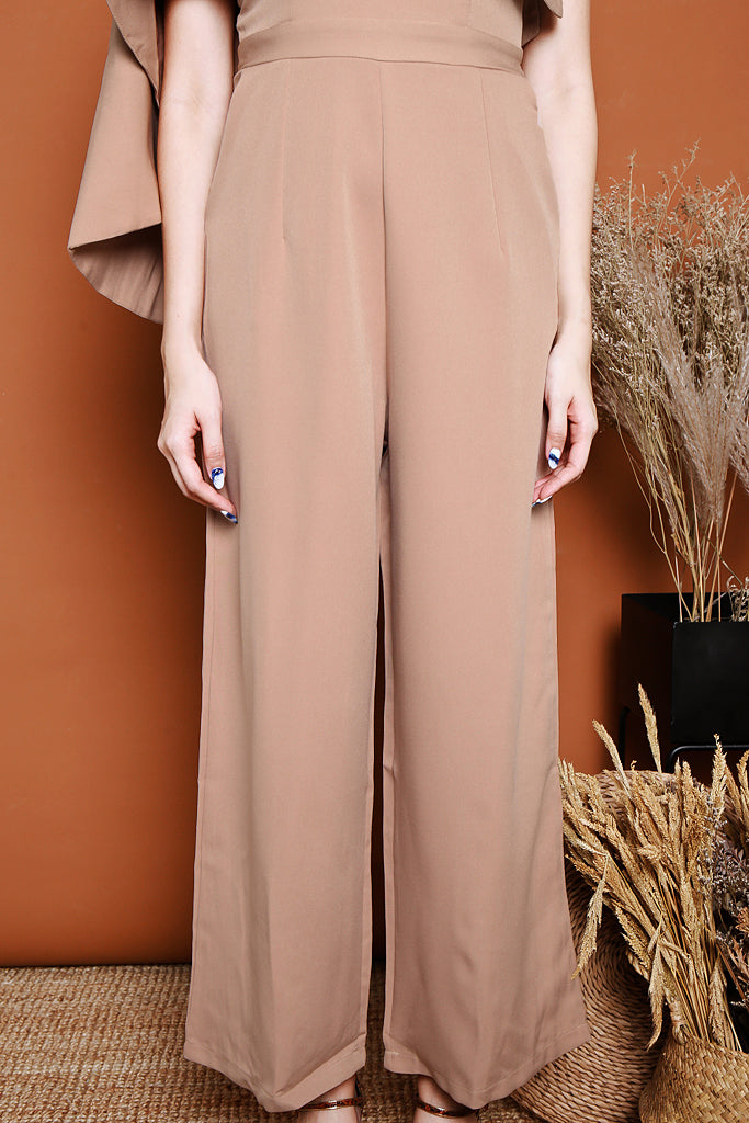 Charlotte Off-shoulder Cape Jumpsuit  - Nude [S/M/L]