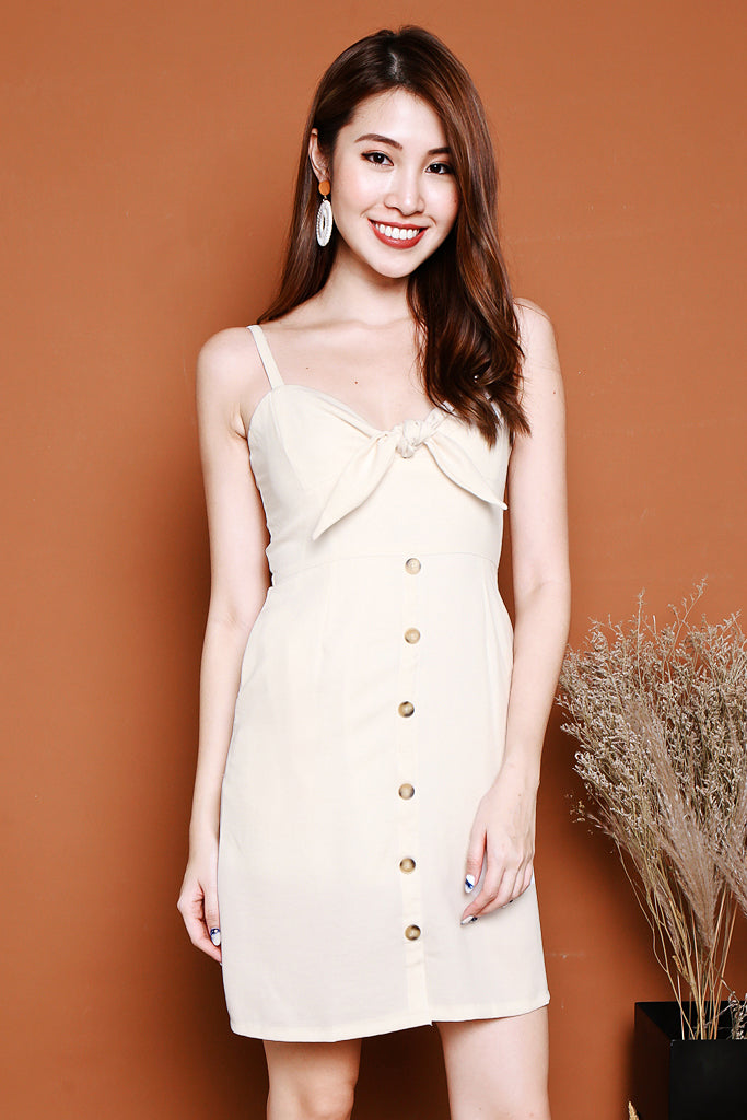 Amelia Knotted Spag Dress - Cream [S/M/L]