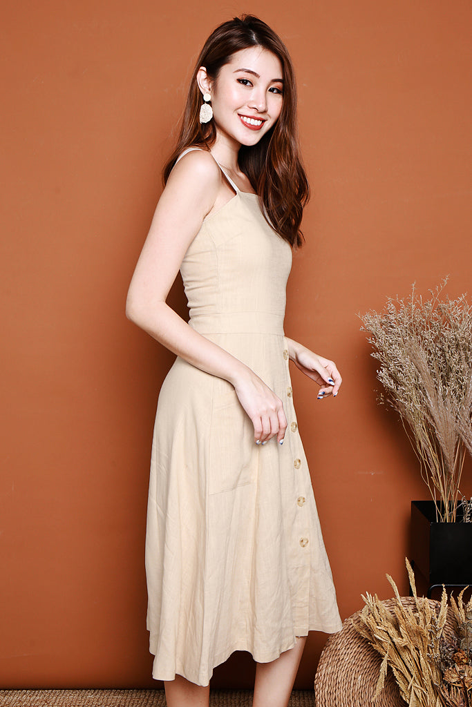 Aurora Relaxed Linen Dress - Cream Beige [XS/S/M/L]