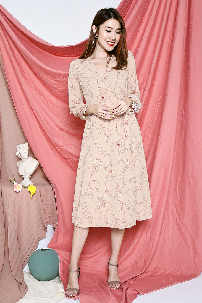 Marley Floral Outlined Wrap Dress - Nude Beige [XS/S/M/L]