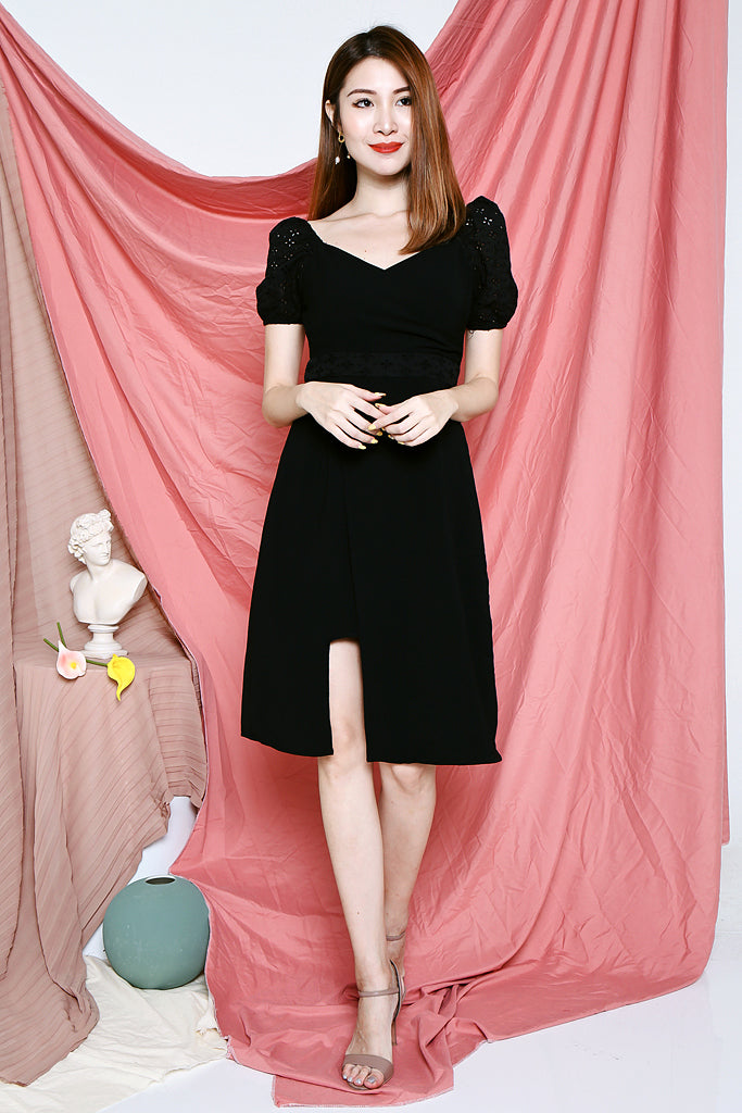 Fallon Eyelet Shoulder Dress - Black [S/M/L/XL]