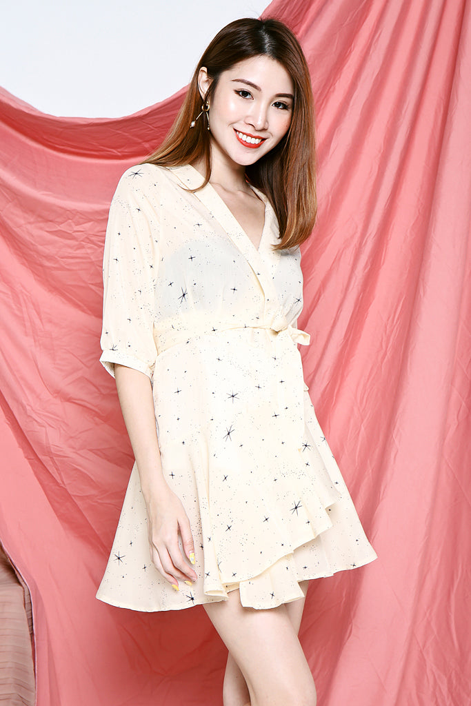 Cora Star Constellations Wrap Dress - Cream
