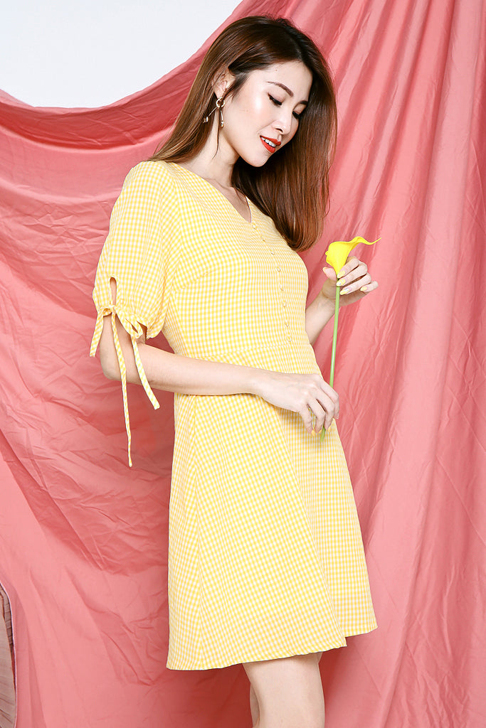 Gianna Gingham Button Dress - Yellow [XS/S/M/L/XL]