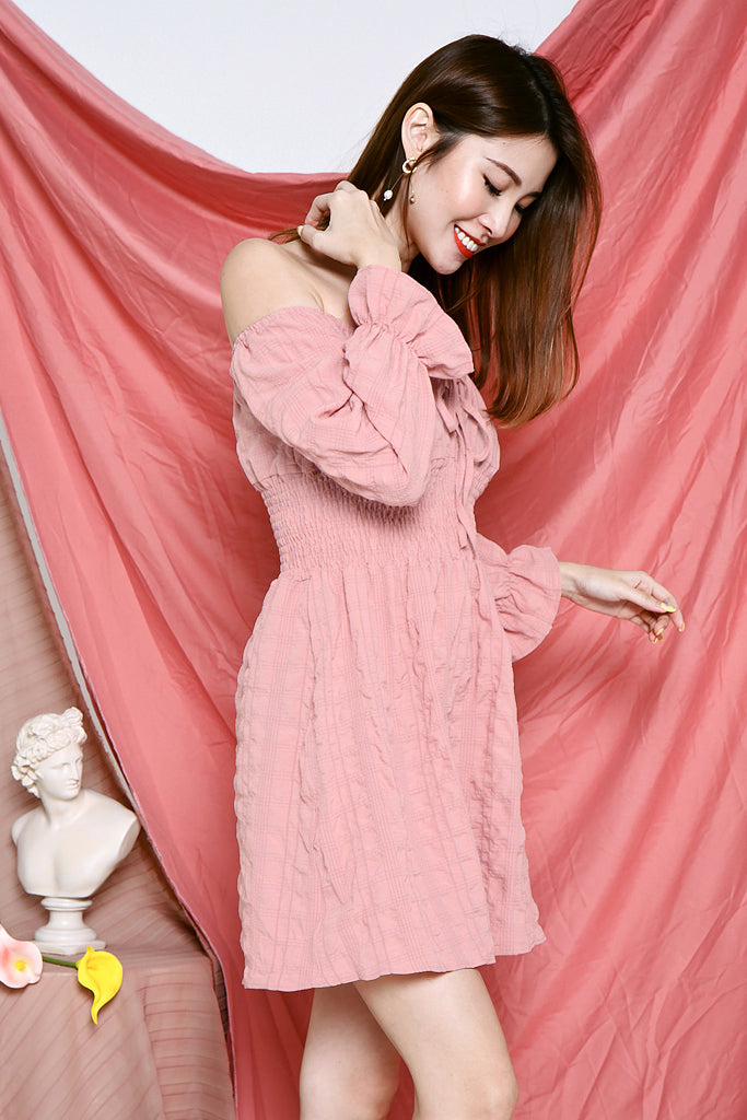 Hayden Off Shoulder Dress - Pink