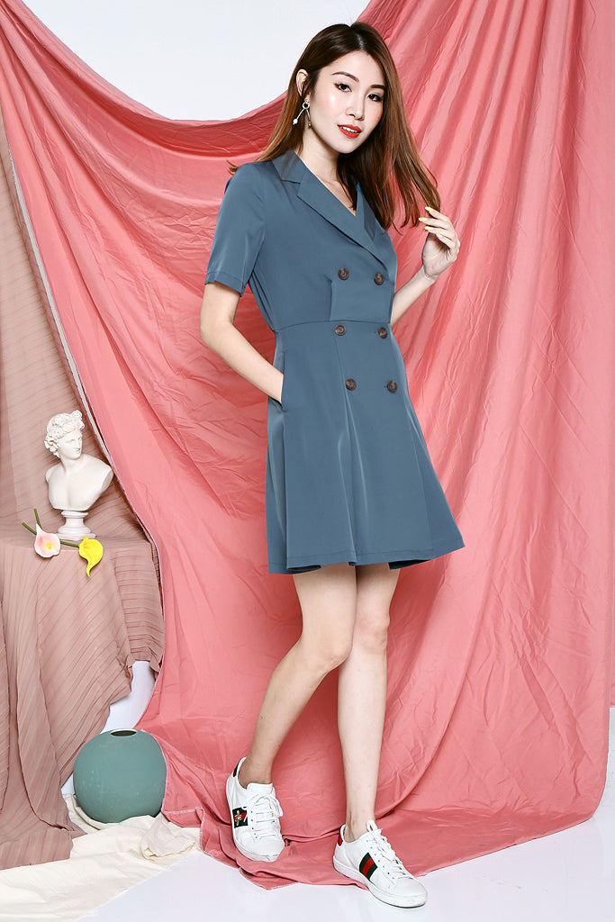 Ruby Tuxedo Dress - Teal [S/M/L/XL]