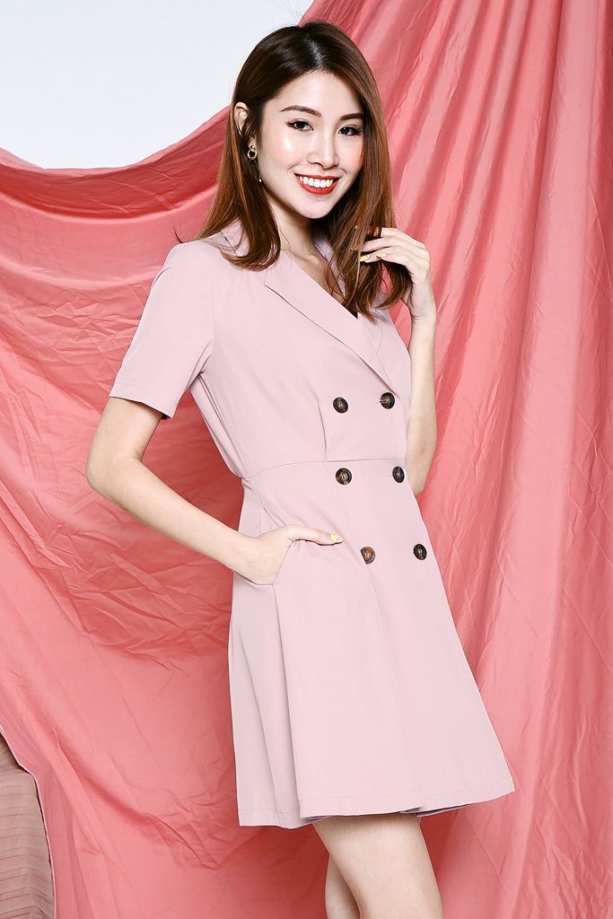 Ruby Tuxedo Dress - Blush Pink [S/M/L/XL]