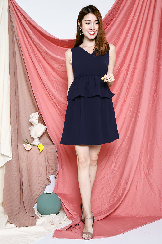 Callie Peplum Tiered Dress - Navy [XS/S/M/L]