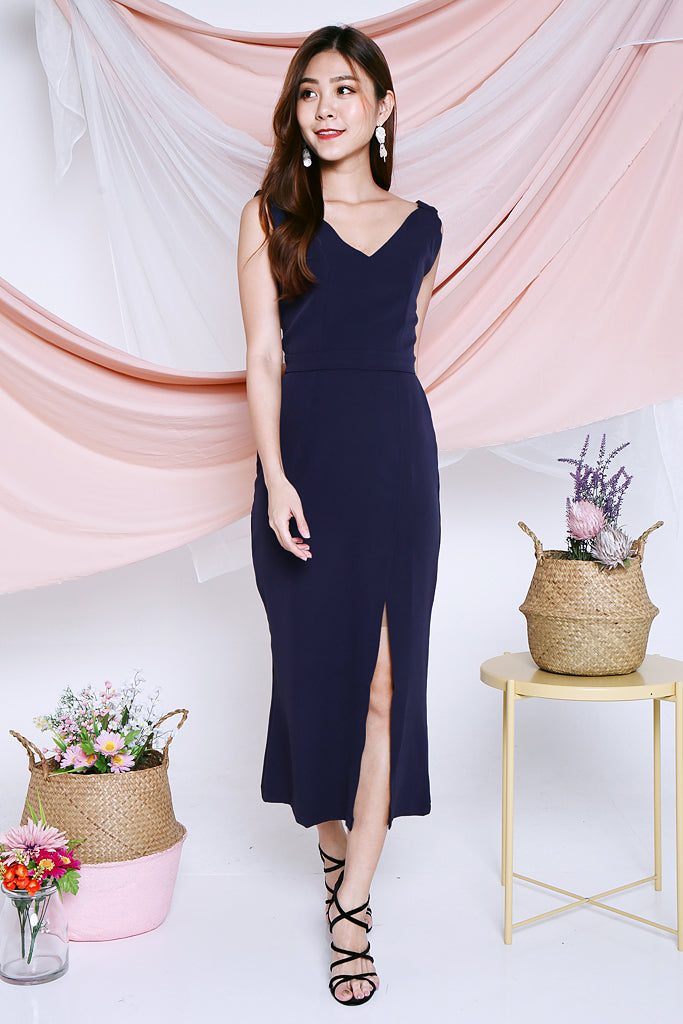 Leilani Bare Back Maxi Dress - Navy [S/M/L]