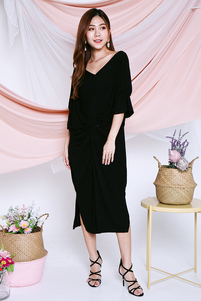 Eleanor Twist Knotted Midi - Black