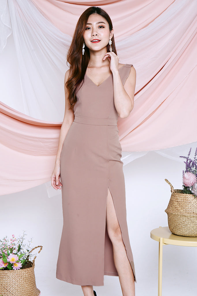 Leilani Bare Back Maxi Dress - Khaki [S/M/L]