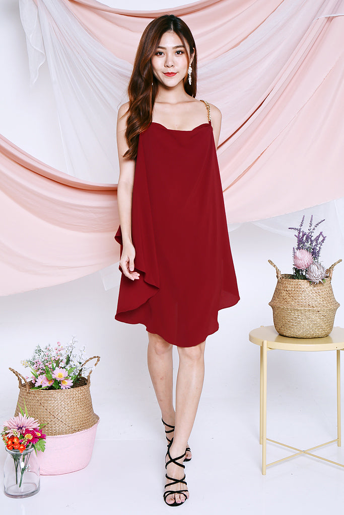 Athena Chain Strap Dress - Wine [S/M]