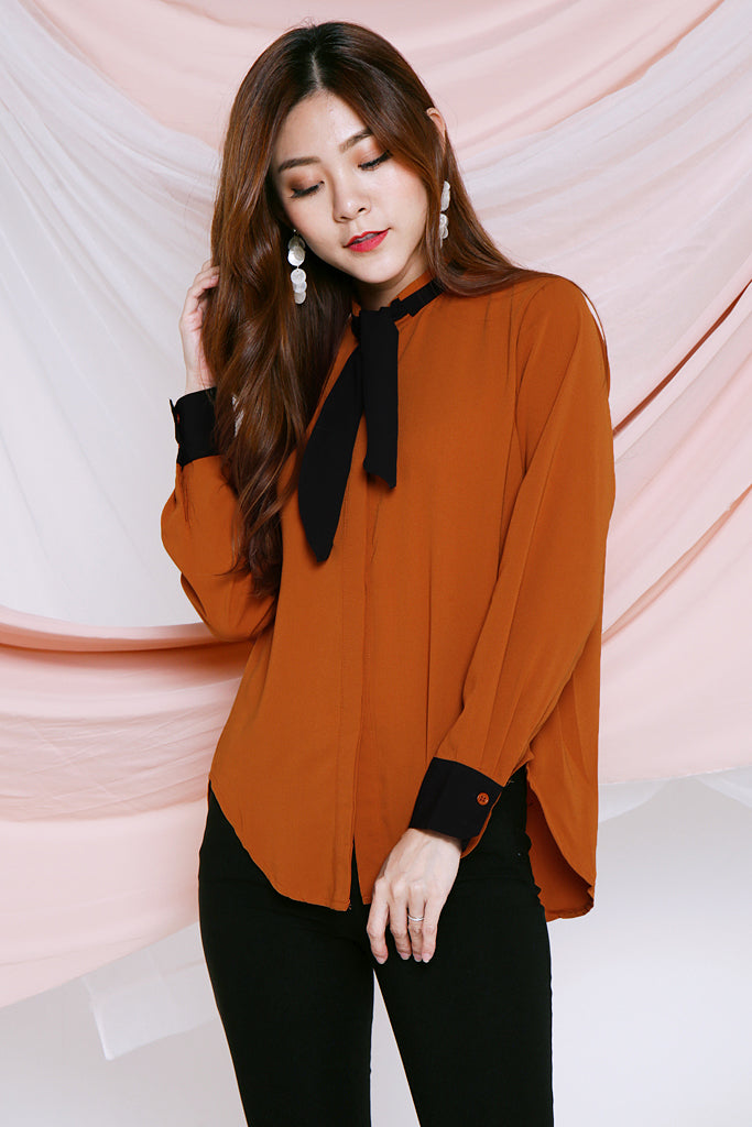 Penelope Bow Blouse - Burnt Orange