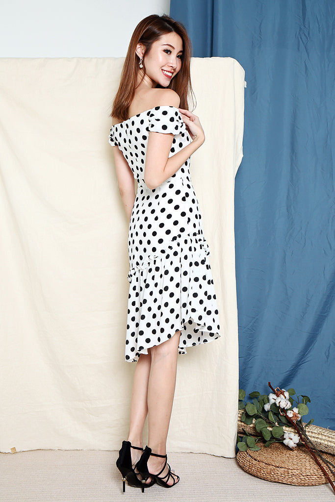 Gina Polka Dot Asymmetrical Hem Dress - White [S/M/L/XL]