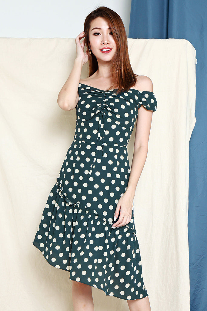Gina Polka Dot Asymmetrical Hem Dress - Forest [S/M/L/XL]