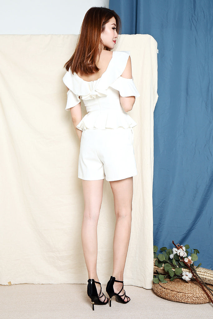 Jane Ruffles Ruche Playsuit - White [S/M/L/XL]