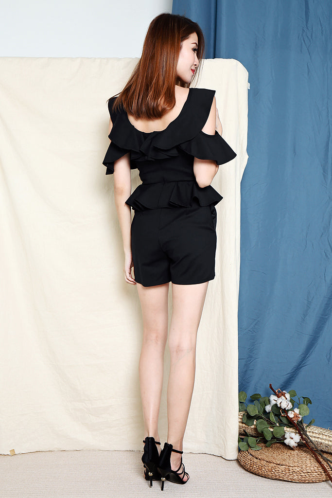 Jane Ruffles Ruche Playsuit - Navy [S/M/L/XL]