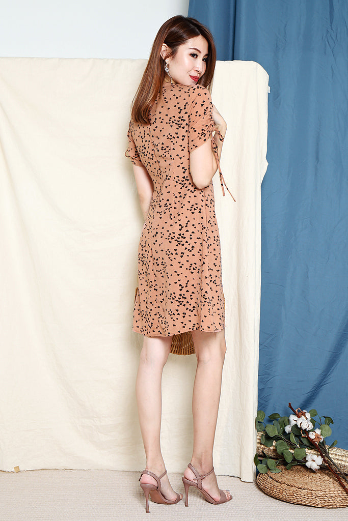 Tyan Heart Ruched Sleeve Dress - Nude Pink [S/M/L/XL]