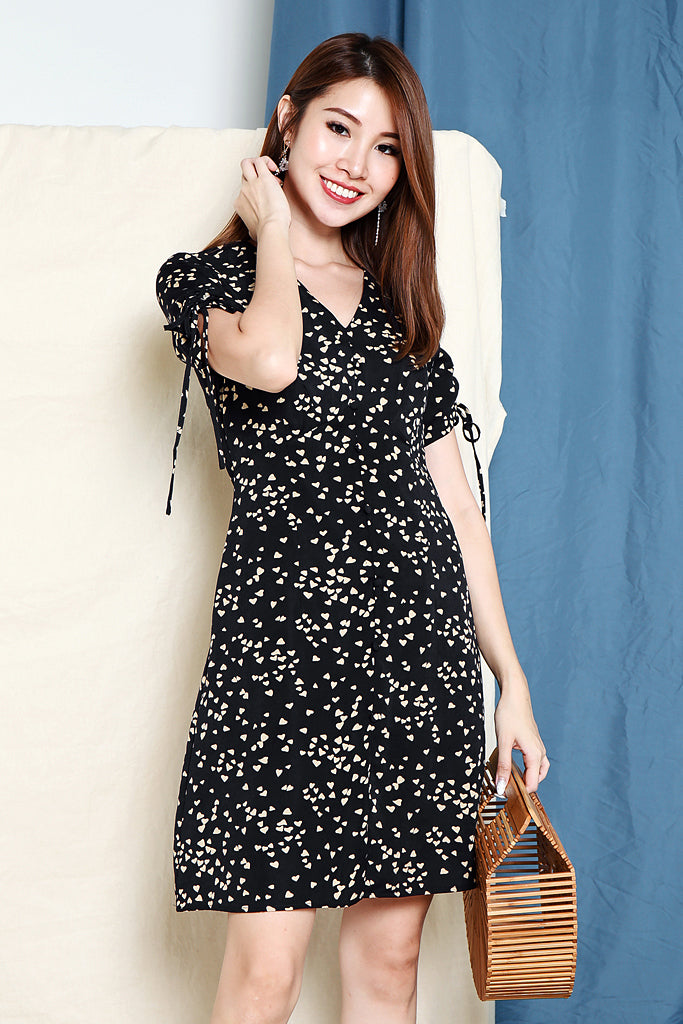 Tyan Heart Ruched Sleeve Dress - Navy [S/M/L/XL]