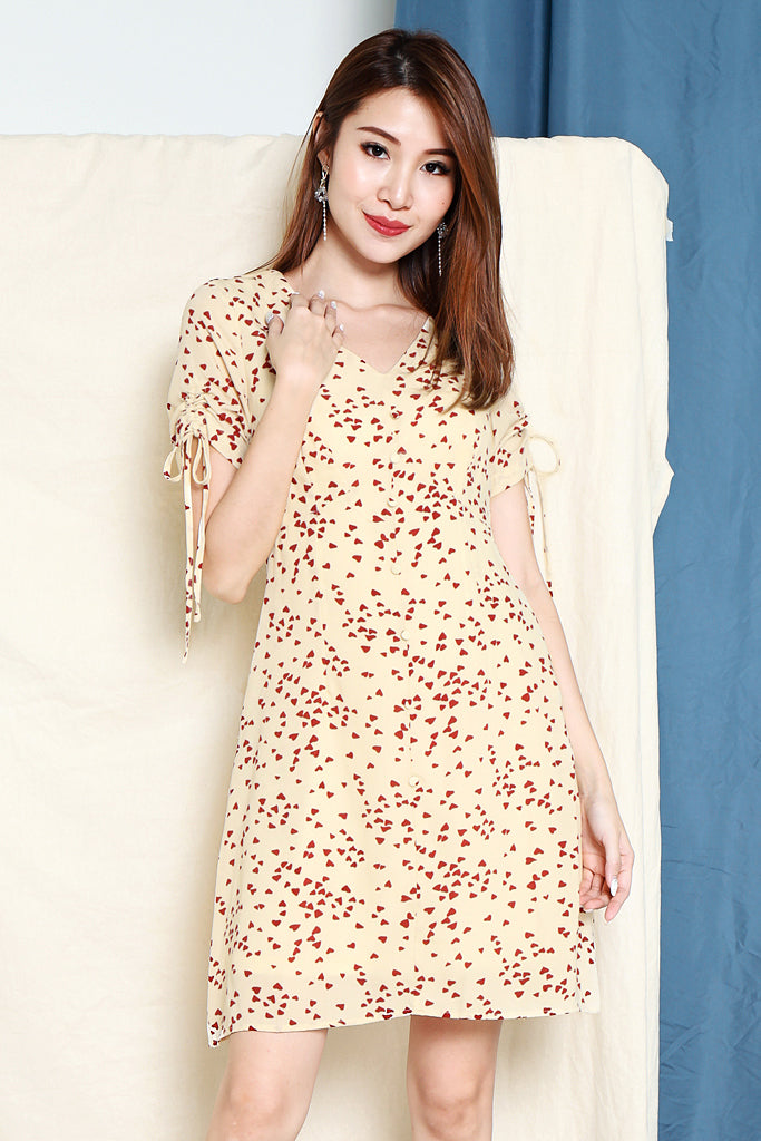 Tyan Heart Ruched Sleeve Dress - Cream [S/M/L/XL]