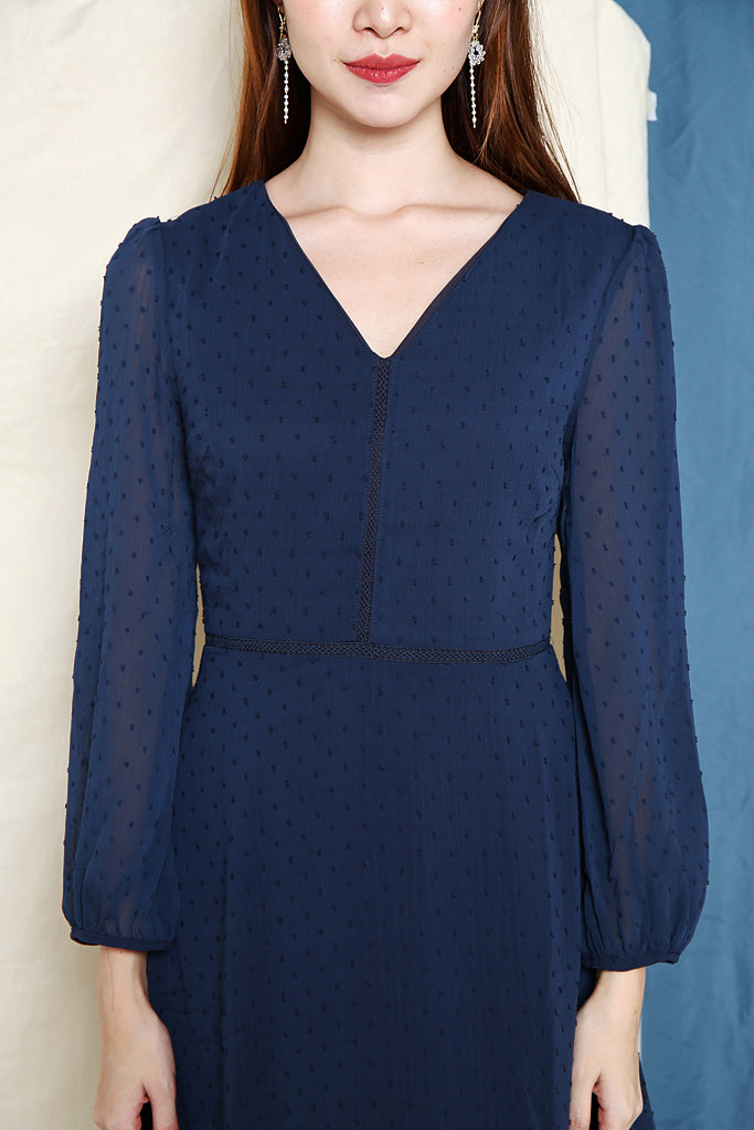 Maggie Textured Sleeved Dress - Navy [XS/S/M/L]