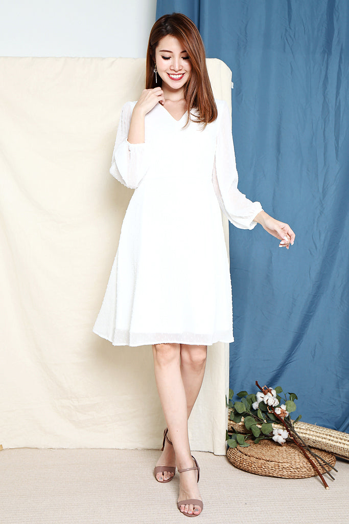 Maggie Textured Sleeved Dress - White [XS/S/M/L]