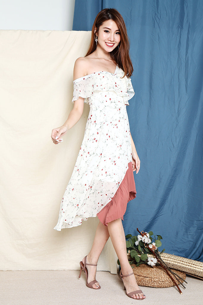 Lola Floral Colourblock Tier Hem Dress - White [S/M/L/XL]