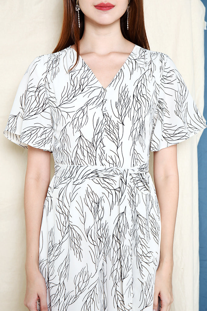 Delaney Abstract Leaf Jumpsuit - White [XS/S/M/L/XL]
