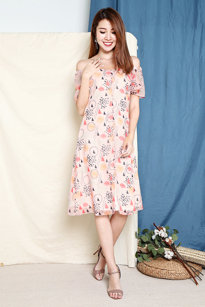 Bonnie Abstract Button Down Dress - Pink [XS/S/M/L]
