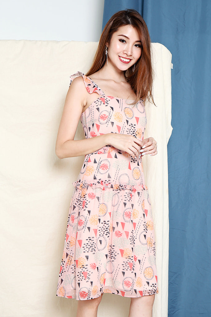 Bonnie Abstract Flutter Sleeve Dress - Pink [XS/S/M/L]