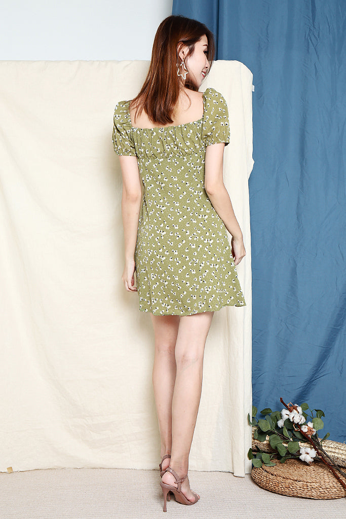 Belinda Floral Puff Sleeves Dress - Avo Green [S/M]
