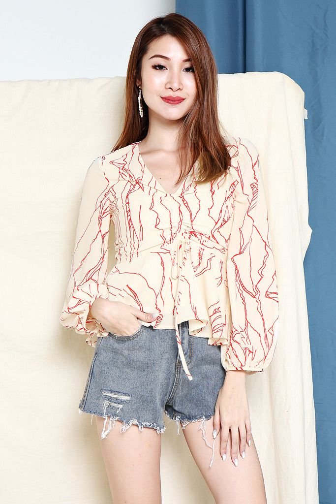 Rachel Abstract Ruched Top - Beige [S/M/L/XL]