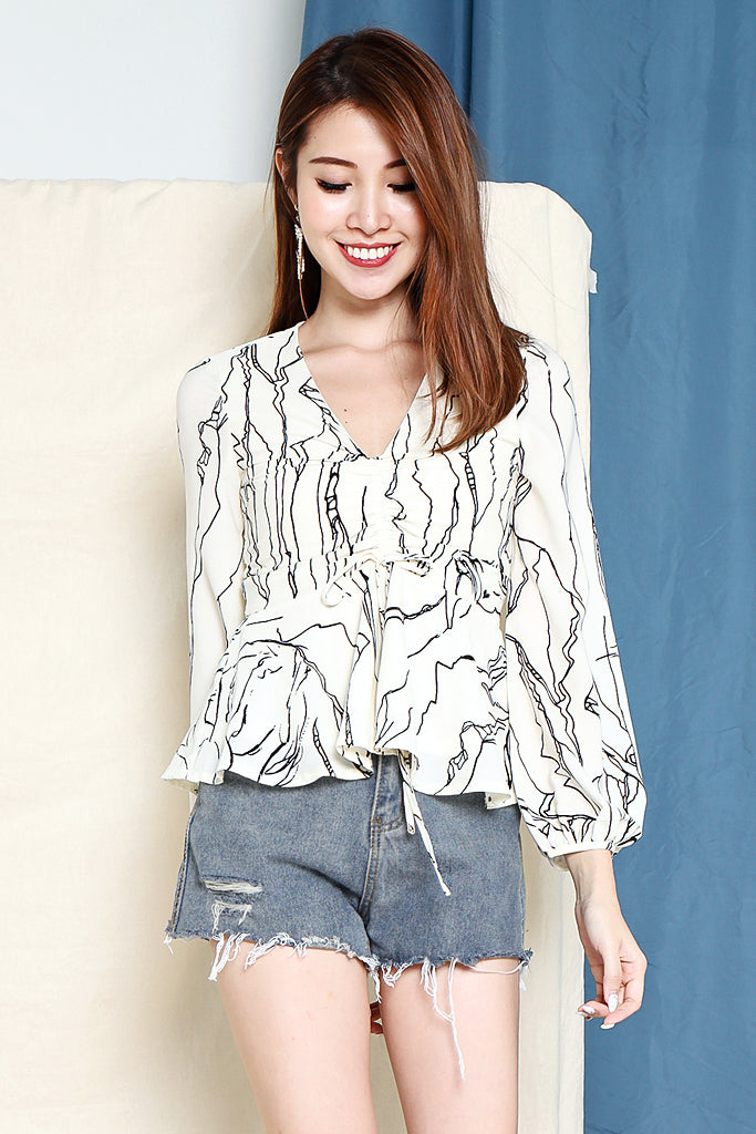 Rachel Abstract Ruched Top - White [S/M/L/XL]